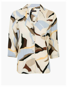 M&S Collection Printed V-Neck 3/4 Sleeve Shirt