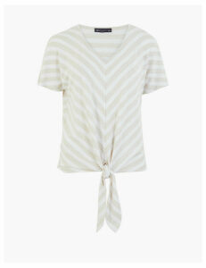 M&S Collection Striped V-Neck Relaxed Short Sleeve Top
