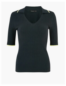 Autograph Textured V-Neck Knitted Top