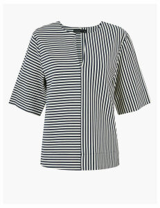 Autograph Striped V-Neck Short Sleeve Top