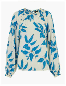 Autograph Leaf Print Relaxed Blouson Sleeve Blouse