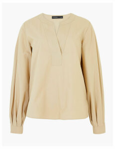 Autograph Pure Cotton V-Neck Long Sleeve Blouse