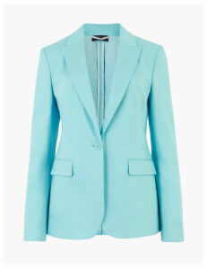 M&S Collection Cotton Rich One Button Blazer