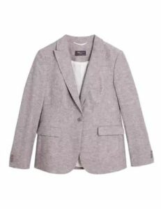 M&S Collection Linen Blend Single Breasted Blazer