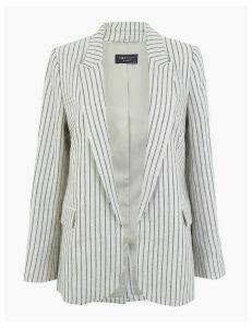 M&S Collection Pure Linen Striped Single Breasted Blazer