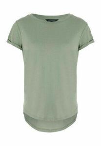 Womens Khaki Roll Sleeve T-Shirt