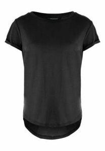 Womens Black Curved Hem T-Shirt