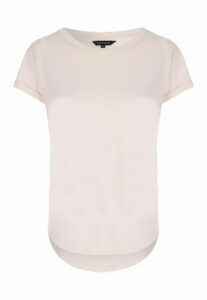 Womens Stone Curved Hem T-Shirt