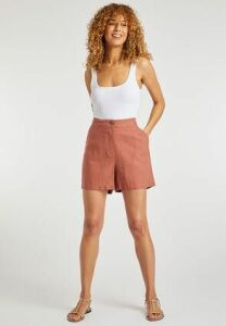 Womens Rust Linen Shorts