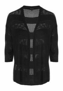 Womens Black Stitch Stripe Cardigan