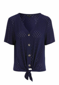 Womens Navy Broderie Tie Front Button Top