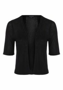 Womens Black Crop Cardigan
