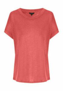 Womens Rust Cap Sleeved Faux Linen T-Shirt