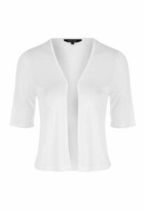 Womens White Crop Cardigan