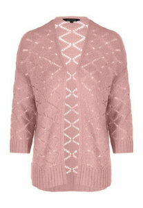 Womens Pink Crochet Cardigan