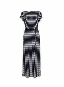 Womens Petite Multi Colour Stripe Print Jersey Maxi Dress - Blue, Blue