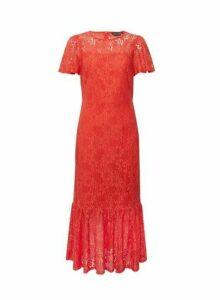 Womens Coral Lace Peplum Midi Dress, Coral