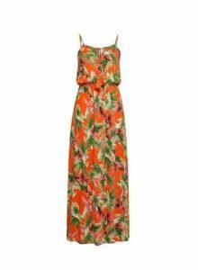 Womens Petite Orange Tropical Print Beach Dress, Orange