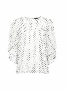 Womens Ivory Spot Print Ruch Sleeve Top, Ivory