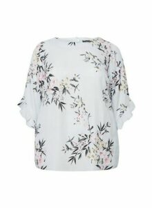 Womens Billie & Blossom Curve Grey Ruffle Floral Print Top, Grey