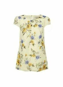 Womens Billie & Blossom Lemon Floral Print Shell Top - Yellow, Yellow