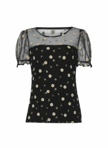 Womens Black Floral Print Mesh Top, Black
