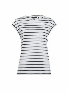 Womens Ivory And Navy Striped Roll Sleeve T-Shirt - White, White