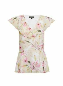 Womens Billie & Blossom Ivory Lily Print Ruffle Top - White, White