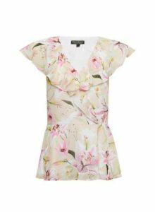 Womens Billie & Blossom Ivory Lily Print Ruffle Top - White, White