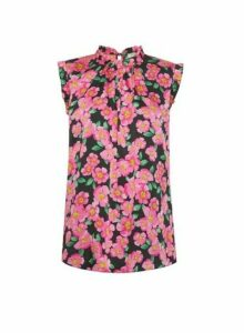 Womens Billie & Blossom Tall Pink Floral Print Ruffle Shell Top, Pink