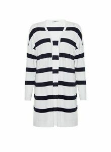 Womens Only Navy And White Stripe Cardigan - Blue, Blue