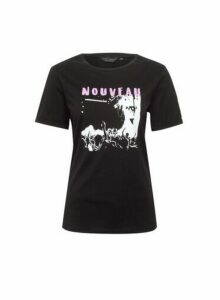 Womens Black Nouveau Rock T-Shirt, Black