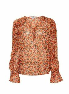 Womens Dp Tall Multi Colour Floral Print Ruffle Blouse - White, White