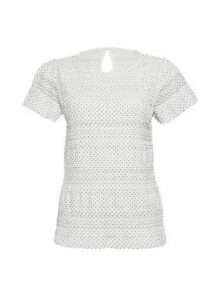 Womens White Spot Print Lace Ruffle T-Shirt, White
