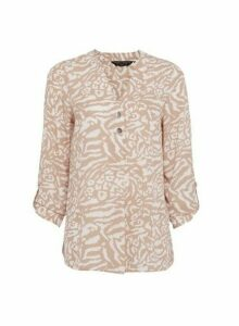 Womens Blush Roll Sleeve Blouse - Pink, Pink