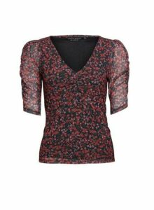 Womens Multi Colour Floral Print V-Neck Ruched Sleeve Top - Black, Black