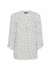Womens Ivory Heart Print 2 Button Roll Sleeve Top, Ivory