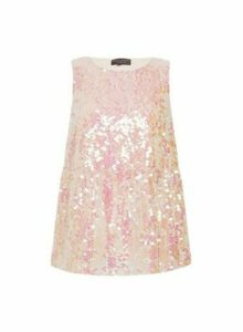 Womens Pink Sequin Tiered Top - Multi Colour, Pink