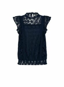 Womens Navy Lace Ruffle Top - Blue, Blue