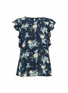 Womens Navy Floral Print Ruffle Sleeve Top, Navy