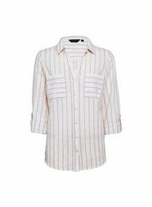 Womens Lilac Striped Linen Shirt, Lilac