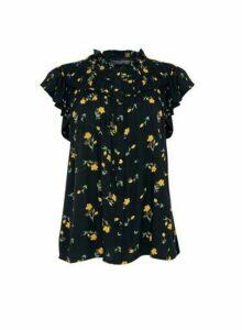 Womens Black Floral Print Button Detail Top, Black