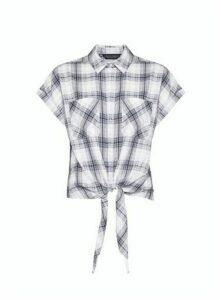 Womens Grey Check Short Sleeve Shirt, Grey