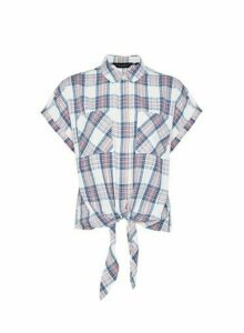 Womens Multi Colour Checked Short Sleeve Shirt - Pink, Pink