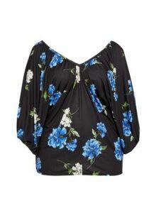 Womens Dp Curve Multi Colour Floral Print Batwing Top, Multi Colour