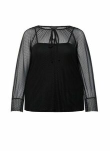 Womens Dp Curve Black Dobby Blouse, Black