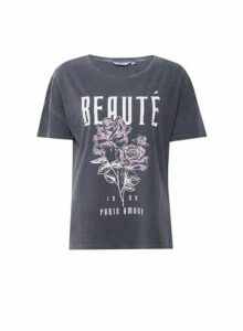 Womens Dp Tall 'Beaute' Slogan T-Shirt - Grey, Grey