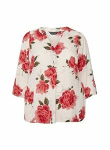 Womens Dp Curve Multi Colour Floral Print Roll Sleeve Blouse, Multi Colour