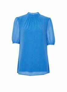 Womens **Billie & Blossom Tall Blue Puff Sleeve Shell Top, Blue