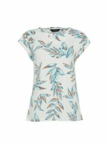 Womens Ivory Leaf Print Roll Sleeve T-Shirt - White, White